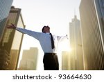 happy young businessman and big ... | Shutterstock . vector #93664630