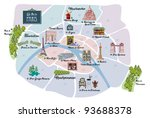 picturesque paris map  with... | Shutterstock .eps vector #93688378