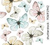 Stock vector aporia butterflies tile able background 93691942