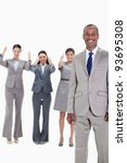 happy businessman with three... | Shutterstock . vector #93695308
