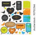 speech bubbles and birds set ... | Shutterstock .eps vector #93701566