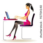 business woman with laptop in... | Shutterstock .eps vector #93704140