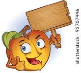 peach cartoon character holding ... | Shutterstock .eps vector #93707446