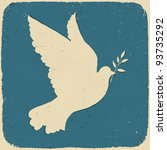 Dove Of Peace. Retro Styled...
