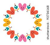 cute hearts frame - stock vector