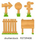 wooden  arrow signs  boards and ... | Shutterstock .eps vector #93739408