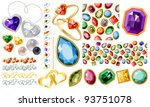 big jewellery set with gems and ... | Shutterstock .eps vector #93751078