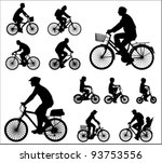 bicyclists silhouettes | Shutterstock .eps vector #93753556