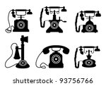 vintage phones | Shutterstock .eps vector #93756766