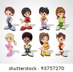 Set of 8 cute happy cartoon kids