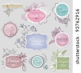 vintage border set with birds | Shutterstock .eps vector #93762916