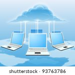 A conceptual cloud computing illustration. Laptops connected to the cloud with a world map in the background. - stock photo