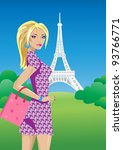 beautiful girl in paris | Shutterstock .eps vector #93766771