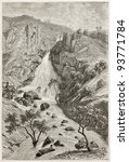 Small photo of Davezout waterfalls old view, Abyssinia. Created by Ciceri after Lejean, published on Le Tour du Monde, Paris, 1867