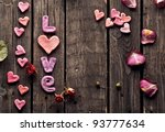 Word Love With Rose Petals And...