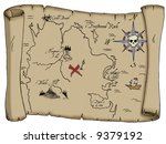 a tattered map with labeled... | Shutterstock . vector #9379192