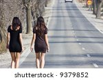 two young women walking on the... | Shutterstock . vector #9379852