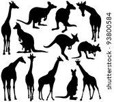 Giraffe   Kangaroo Silhouettes...