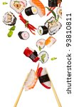 sushi pieces with sticks flying ... | Shutterstock . vector #93810811