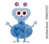 cute funny blue monster. vector ... | Shutterstock .eps vector #93821917