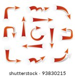 set of red paper arrows | Shutterstock .eps vector #93830215