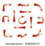 set of red paper arrows   Shutterstock .eps vector #93830215