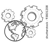 doodle style globe in the gears ... | Shutterstock .eps vector #93831208