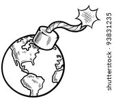 Doodle style global time bomb sketch in vector format - stock vector