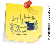 Doodle style birthday cake on yellow sticky note sketch in vector format - stock vector