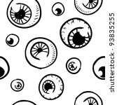 Doodle style seamless eyeball background sketch in vector format - stock vector