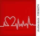 white heart beats cardiogram on ...