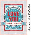 vintage valentine card. vector... | Shutterstock .eps vector #93836170