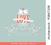 invitation card with pigeons.... | Shutterstock .eps vector #93847108