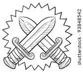 Doodle style swords in conflict sketch in vector format. - stock vector
