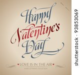 'happy valentine's day' hand... | Shutterstock .eps vector #93853069