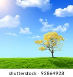 green field and yellow tree on... | Shutterstock . vector #93864928