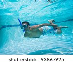 young man swimming under water... | Shutterstock . vector #93867925