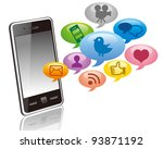 touchscreen smartphone with... | Shutterstock .eps vector #93871192