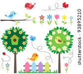 garden set with birds  blooming ... | Shutterstock .eps vector #93895210