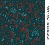 floral romantic seamless... | Shutterstock .eps vector #93901207