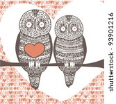 owl couple in love on tree... | Shutterstock .eps vector #93901216