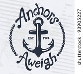 vintage style nautical anchor...   Shutterstock .eps vector #93905227
