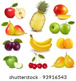 big group of different fruit.... | Shutterstock .eps vector #93916543