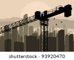 Industrial skyscraper city and crane landscape skyline background illustration vector - stock vector