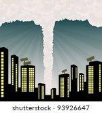 Tornado into city center illustration vector background - stock vector