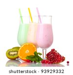 milk shakes with fruits... | Shutterstock . vector #93929332