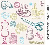 sewing kit doodles   hand drawn ...