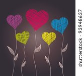 Abstract Heart Flowers  Vector...