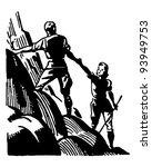 couple mountain climbing  ... | Shutterstock .eps vector #93949753