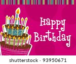 happy birthday with cake card.... | Shutterstock .eps vector #93950671